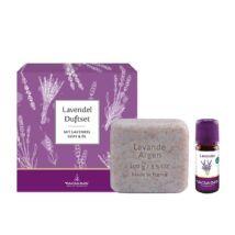 Ajándékcsomag Levendula-Argán szappannal és Bio Orvosi levendula illóolajjal