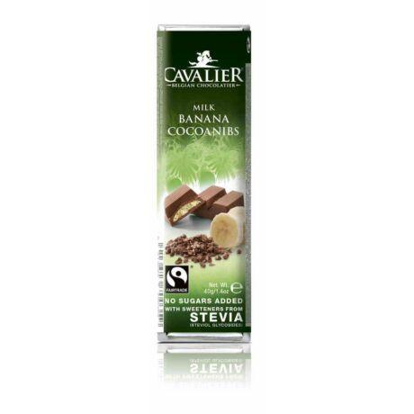 Belga Cukormentes Tejcsokoládé banánkrémmel és kakaó darabokkal, steviával | Cavalier