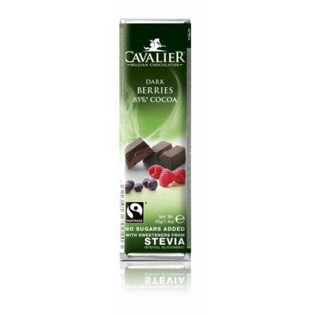 Belga cukormentes étcsokoládé szelet bogyós gyümölcsökkel, steviával