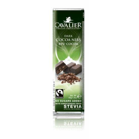Belga cukormentes étcsokoládé szelet kakaódarabokkal, steviával