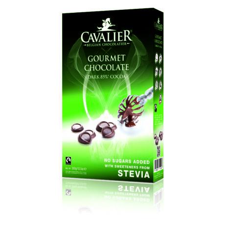 Belga Étcsokoládé pasztilla steviával   Cavalier