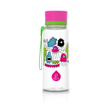 BPA-mentes műanyag kulacs -Rózsaszín szörnyes