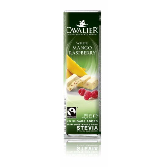 Belga cukormentes fehér csokoládé mangóval és málnával, steviával