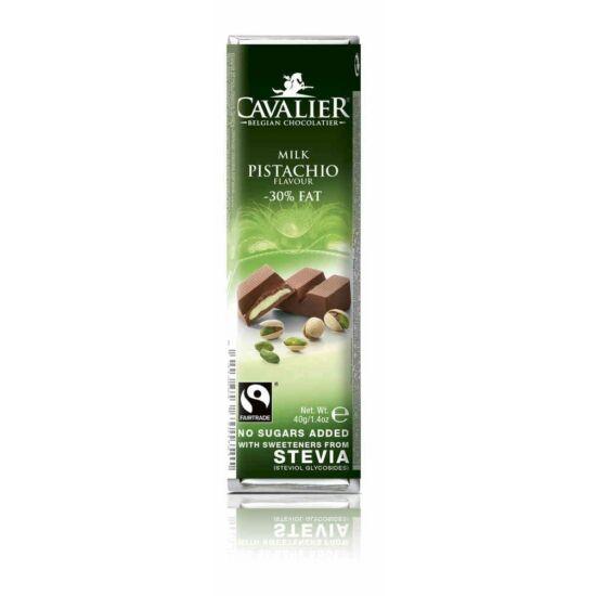 Belga cukormentes tejcsokoládé pisztáciakrémmel, steviával