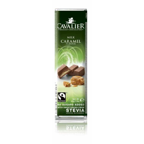 Belga cukormentes tejcsokoládé szelet karamellkrémmel, steviával
