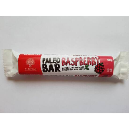 Málna ízű krémmel töltött étcsokoládé szelet Almitas